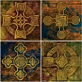 "CoasterStone AS1605 Absorbent Coasters, 4-1/4-Inch, ""Celtic Crosses"", Set of 4"