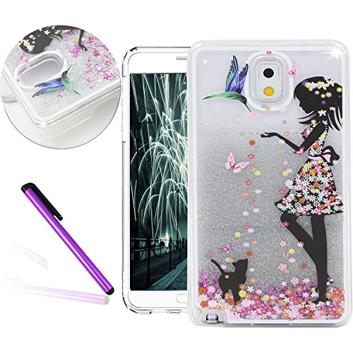 [[Fancy Dress Girl]Galaxy NOTE 3 Case, EMAXELER 3D Creative Design Painted Angel Girl Surface Inner Flowing Floating Bling Shiny Liquid PC Hard Case for Samsung Galaxy NOTE 3+Stylus Pen-Silver] (Angel Fancy Dress)