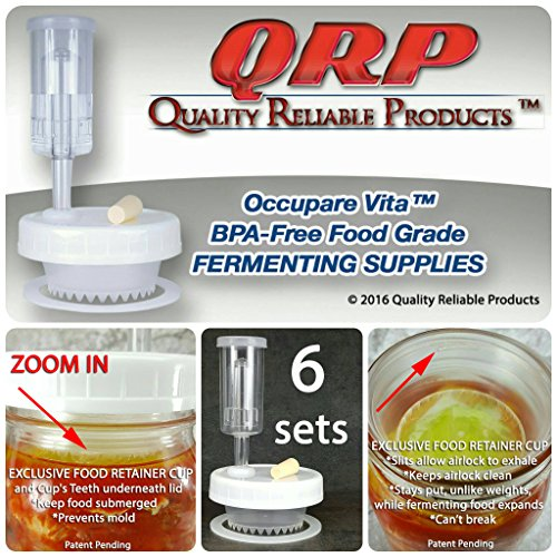 6 QRP Mason Jar Lids FERMENTATION KITS w/ EXCLUSIVE FOOD RETAINER AERATION CUPS = NO WEIGHTS NEEDED MOLD-PROOF, installed Grommets, Seals, Stoppers, & Airlocks (6 WIDE MOUTH) (Mason Jar Airlock compare prices)
