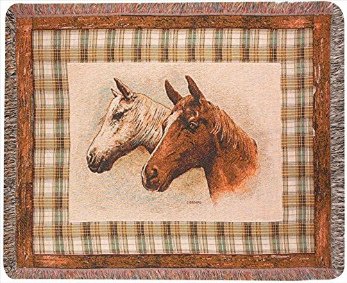 """""""Field Of Dreams"""" Horse Print Tapestry Throw Blanket 50"""" X 60"""" front-980843"""
