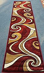 Modern Long Runner Area Rug Cranberry Red Bellagio Swirl Design#144 (32in.X15ft10in.)