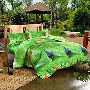 Green/blue Peacock 100% Cotton Queen Size 3d Print Bedding Set (1 Duvet Cover + 1 Bed Sheet + 2 * Pillow Case)