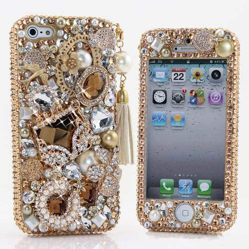 Best price for BlingAngels® 3D Luxury Bling iphone 5 5s Case Cover Faceplate Swarovski Crystals Diamond Sparkle bedazzled jeweled Design Front & Back Snap-on Hard Case (100% Handcrafted by BlingAngels) (Luxury Golden Purse with Phone Charm)