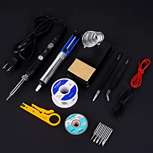 Tweezers. Soldering iron kit for repairing electronic tools,Ockered 18-in-1 60w Adjustable Temperature Soldering Iron with ON//OFF Switch,Soldering Iron Tips Desoldering Pump