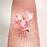 12''x108'' Royal Rose Gold Sequin Table Runner, Sequin Table Cloth, Sequin Tablecloths, Sequin Linens