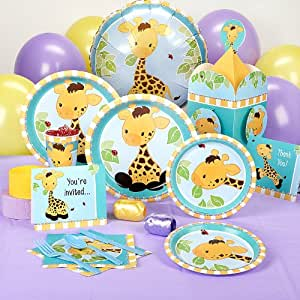 Giraffe baby shower standard party pack for 16 for Baby shower decoration packs