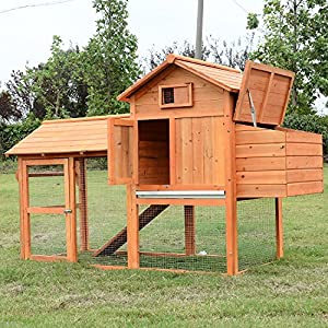 PawHut 82-inch Deluxe Backyard Wood Chicken Coop with Run and Nesting Box
