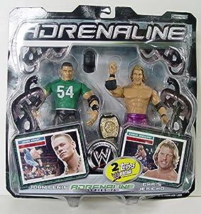 JOHN CENA & CHRIS JERICHO - WWE Wrestling Adrenaline Series 16 Figure 2 Pack with Championship Belt and Topps Heritage Trading Cards by Jakks