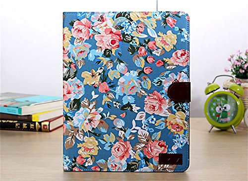 Borch Fashion Luxury Multi-Function Protective Floral Series Light-Weight Folding Flip Smart Case Cover For Ipad Air (Sky Blue)