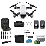 DJI Spark Intelligent Portable Mini Drone Quadcopter, Fly More Combo, with MUST HAVE ACCESSORIES, 2 Batteries, 64 GB SD Card, Propeller Guards, and More (Alpine White) (Color: White, Tamaño: SPARK 2 BATTERY BUNDLE)