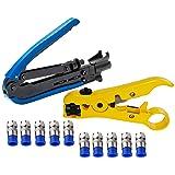 Adjustable Coaxial Compression Tool Elibbren Coax Cable Crimper Kit for RG6 RG59 RG11 75-5 75-7 Coaxial Cable Stripper with 10 PCS F Compression Connectors (Tamaño: Blue)