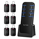 Key Finder Locator Item Tracker - Anti-Lost Wireless RF Smart Wallet Tracker 1 Transmitter 6 Receivers Support Remote Control Alarm Reminder 95db Sound Perfect for Purse Glasses Pet Phone Car Keychain (Color: Black [LATEST])