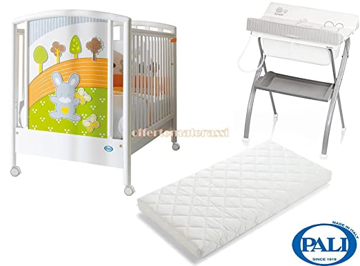 Lettino Pali Smart Bosco + bagnetto Brevi Lindo + materassino Pali Evolution (bianco)
