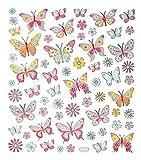 1 Bogen rosarote glitzernde Schmetterlinge und Blumen Sticker Aufkleber