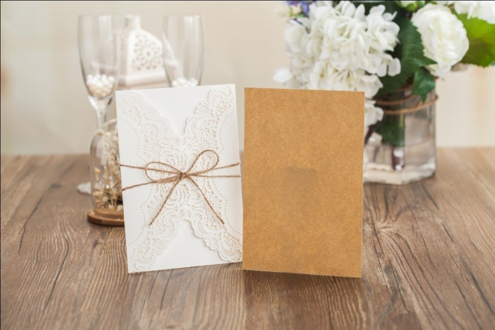 Wishmade 50x Rustic Laser Cut Lace Sleeve Wedding Invitations Cards Kits for Engagement Bridal Shower Baby Shower Birthday Graduation Cardstock with Hollow Favors Rustic Envelope(Set of 50pcs) 5
