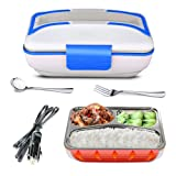 LOHOME Electric Heating Lunch Box - Insulated Car Lunch Box Bento Meal Heater Food Warmer Stainless Steel Portable Lunch Containers with Car Charging Function (Blue.) (Color: Blue.)