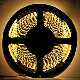 HitLights Warm White Double Density 600 LEDs Flexible Light Strip, 3528 Type SMD, 5 Meter or 16.4 Ft, 12 Volt, 48 Watt
