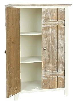 Clayre & Eef 5H0094 armario madera blanco marrón 52 x 30 x 80 cm aprox puertas
