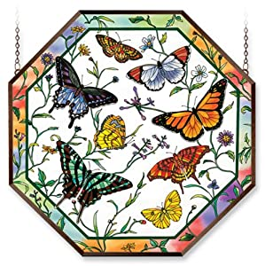 Amia 6495 Window Decor Panel, Rainbows and Butterfly Design, Hand-painted Glass, 22-Inch W by 22-Inch L