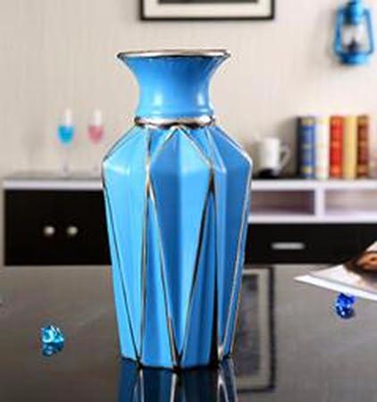 JRFBA Home Furnishing Joyas Florero De Ceramica Decoracion Salon Comedor Mueble Tv Mesa Simulación Flor Artesanía Ornamento Conjunto Diamante Blanco Con Azul Botella Dance,B