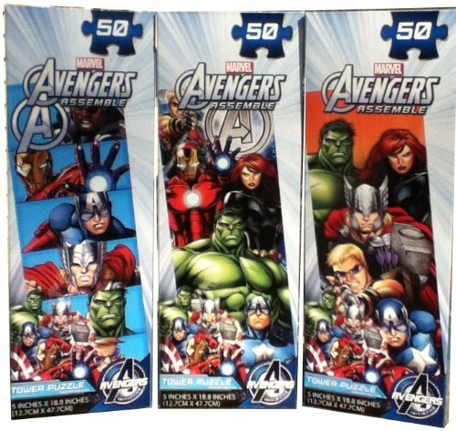 Avengers 'Tower' 3-Pack Set of Puzzles (50 pieces each)Thor, Iron Man, and more by N/A