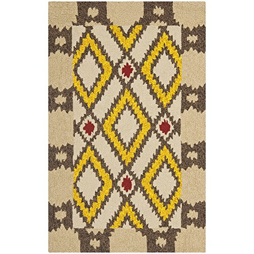 Safavieh Four Seasons Collection FRS455E Hand-Hooked Beige and Yellow Indoor/ Outdoor Area Rug, 2 feet 6 inches by 4 feet (2'6