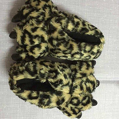 Spritech (TM)-Pantofole a stivaletto da donna, a forma di Orsetto morbido Winnie Pantofole a ciabatta, idea regalo, per uso domestico, Yellow Leopard Grain, taglia unica