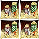 Snoogg Guitar Wings Pack Of 4 Digitally Printed Cushion Cover Pillows 14 X 14 Inch