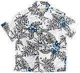 (マルカワジーンズパワージーンズバリュー) Marukawa JEANS POWER JEANS VALUE アロハシャツ キッズ 半袖 シャツ ハイビスカス 5color 160 アイボリー