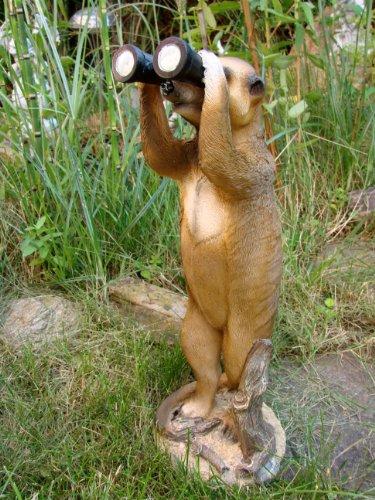 Erdmännchen mit Fernglas Figur Gartenfigur TOP Tierfigur