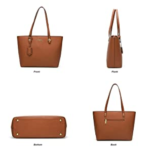 4c0a5f853a00 ELIMPAUL Women Fashion Handbags Tote Bag Shoulder Bag Top Handle Satchel  Purse Set 4pcs (brown)