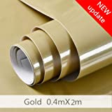 Shiny Gold Contact Paper Vinyl Film Shining Point Self Adhesive Waterproof Removable Decorative Home Peel and Sticker Wallpaper for Kitchen Countertops Cabinets Furniture (15.8