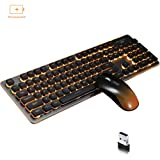 Wireless Backlit Mute Keyboard and Mouse Combo,Support Charging,Waterproof (Black) (Color: black, Tamaño: 104)