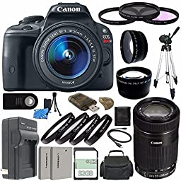 Canon EOS Rebel SL1 Digital SLR Camera Kit with 18-55mm STM Lens and Canon 55-250mm STM Lens + 32GB Green\'s Camera Package 2