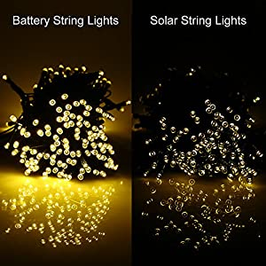 [Rechargeable Battery Included]Battery Operated Christmas String Lights with Timer,easyDecor 200 LED 72ft Warm White 8Mode Waterproof Decorative Fairy light for Halloween,Outdoor,Indoor,Party,Tree