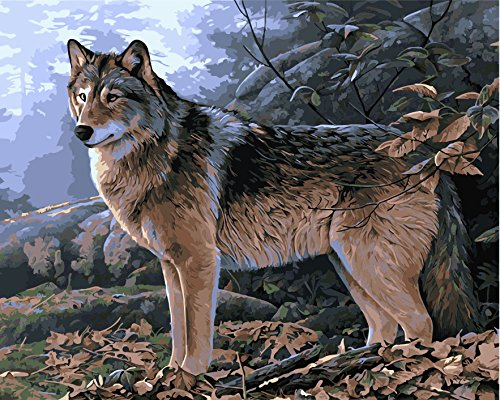 Paint By Number Kits No Mixing / No Blending Linen Canvas - Alone Wolf