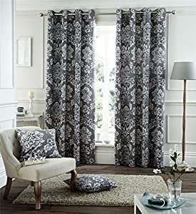 """Silver Grey Floral 66x90"""" 168x229cm Cotton Blend Lined Ring Top Curtains Drapes by Curtains"""