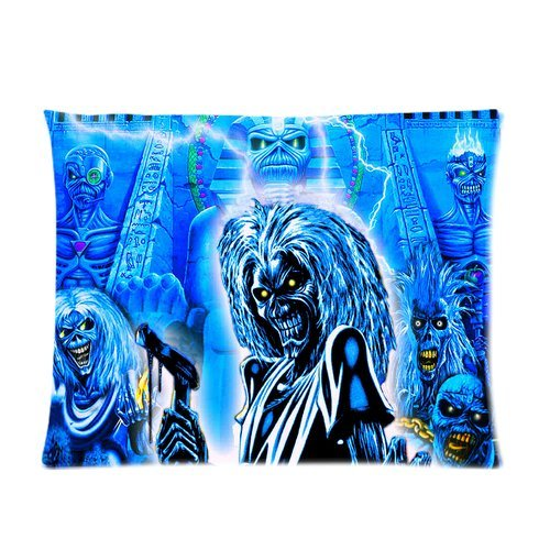 Custom Cotton & Polyester Soft Pillow Case Cover 20X26 (One Side) - Music Star Band Series - British Metal Band Iron Maiden - Album Cover Poster Creepy Thriller Skeleton Skull Personalized Pillowcase - Forever Collection Souvenire