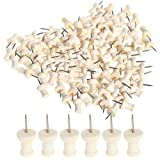 Wode Shop 100 Pcs Wood Push Pins, Wooden Head Pins Steel Thumb Tacks For Cork Boards Map Photos Home Office Craft Projects (Color: Burlywood)