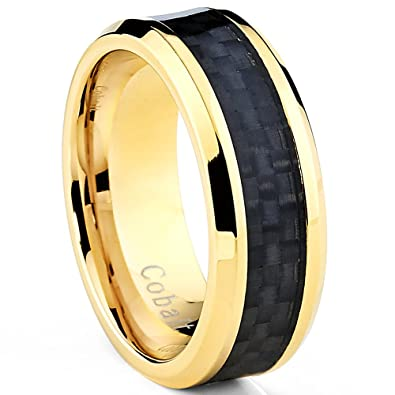 wedding band ring with black carbon black gold mens wedding ring photo