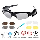 Wireless Sunglasses,WONFAST Bluetooth Sunglasses Music Handfree Headset Headphones for iPhone X/8/7/8 plus Samsung Bluetooth devices + Free Replaceable 3 Pair Lens (Yellow,Brown,Clear) (N-Black)