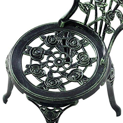 Giantex Patio Furniture Cast Aluminum Rose Design Bistro Set Antique Green (Green) 4