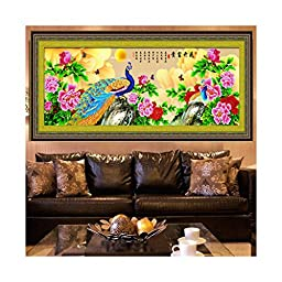 Diamond Painting Fortune Comes with Blooming Flowers Peacock Living Room Diamond Stitch Diamond Paste Cross Stitch