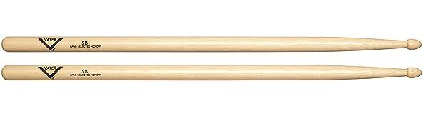Vater VH5BW 5B Wood Tip Hickory Drum Sticks, Pair (Tamaño: 5b)