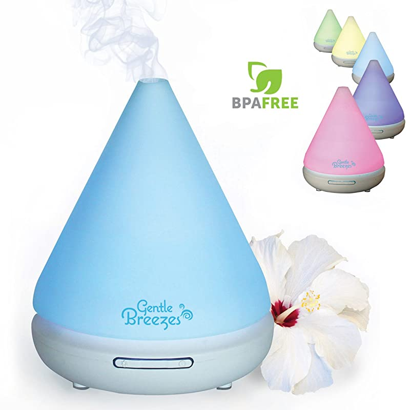 Gentle Breezes 120ml Aromatherapy Essential Oil Diffuser - Auto Shut-Off Portable Cool Mist Ultrasonic Aroma Humidifier with 7 Color Changing LED Lights - Best for Citrus Oils via Amazon