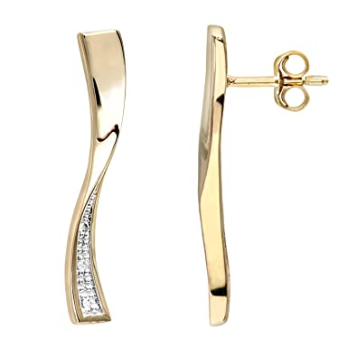 Naava Women's 9 ct Yellow Gold Diamond Earrings