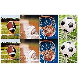 Mead 2-Pocket Folder, Assorted Sports Designs, 8 Pack (73086)