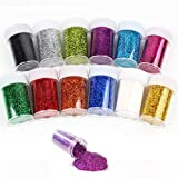 Simuer Slime Supplies Glitter Dust Powder Paillettes Sequins Glitter Shake Jars for Kids Slime, Scrap-Booking, Body, Face, Art Craft Nails, Assorted Colors, 12 Pack (Tamaño: Small Glitter Powder)