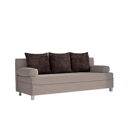 Schlafsofa Dover Style, Sofa mit Bettkasten und Schlaffunktion, Bettsofa, Farbauswahl, Schlafcouch mit Chromfuße, Couch vom Hersteller, Couchgarnitur (Alova 07 + Alova 68)