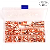 Icstation Open Barrel Wire Crimp Connector Copper Ring Battery Lug Terminals Assortment Kit OT 5A 10A 20A 30A 40A 50A 60A 100A (Pack of 185) (Color: Copper Ring Terminals 5-100A(Pack of 185))